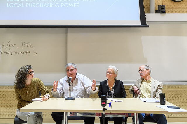 Hal Plotkin speaks, with Ingrid Burrington on the left; Deb Socia and Jim Kennedy on the right.