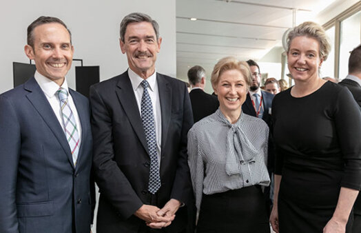 Dr Andrew Leigh MP, Terry Agnew, Melina Morrison, Bridget McKenzie at the Parliamentary Friends Event at Parliament House Canberra