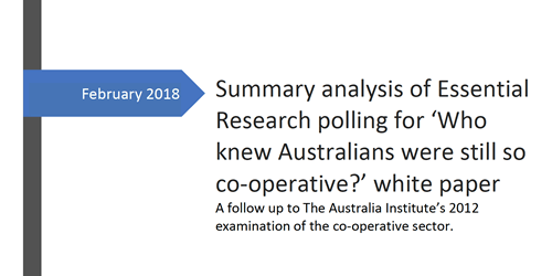 Summary analysis of Essential Research polling for 'Who knew Australians were still so co-operative?' white paper