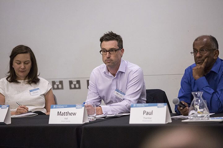 L-R: Dr Sarah Adams, from the Australian National University (ANU), Professor Matthew Hall and Dr Paul Thambar at a discussion session at the BCCM Summit in Adelaide 2019.