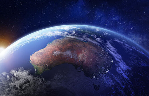 Australia from space at night with city lights of Sydney, Melbourne and Brisbane