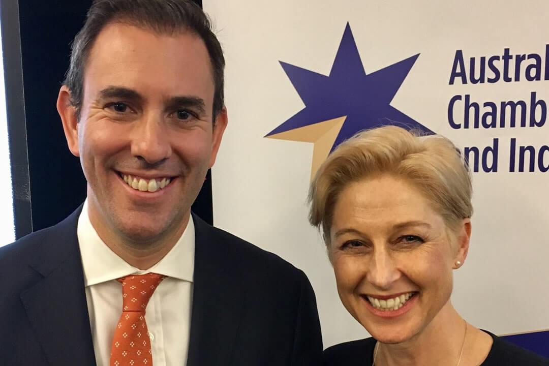 Shadow Treasurer Jim Chalmers and BCCM CEO Melina Morrison