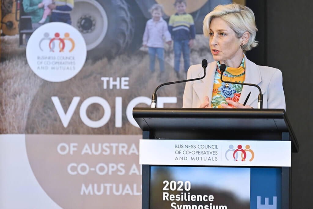 BCCM CEO Melina Morrison addresses attendees to the 2020 Resilience Symposium in Sydney