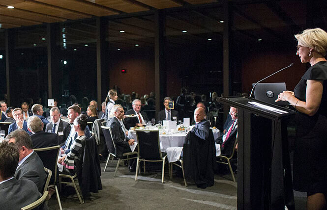 Melina Morrison, BCCM CEO speaking to dinner guests at the 2019 Resilience Dinner